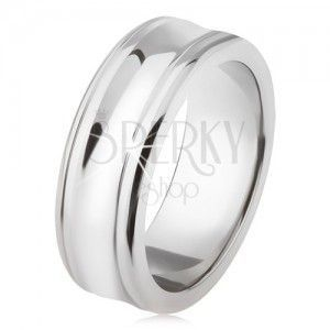 Tytanowy pierścionek - srebrny kolor, lśniący, wgłębiony środkowy pas obraz