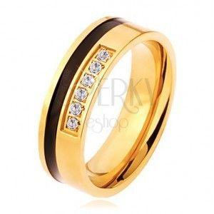 Stalowy pierścionek w złotym i czarnym kolorze, ozdobny pas przezroczystych cyrkonii obraz