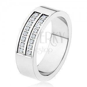 Stalowy pierścionek - srebrny kolor, lśniący, podwójny pas przezroczystych cyrkonii obraz