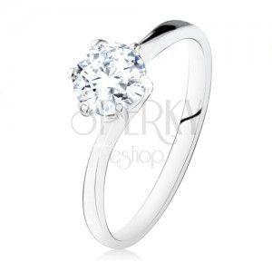Srebrny pierścionek 925 w stylu zaręczynowego, okrągła przezroczysta cyrkonia, wąskie ramiona obraz