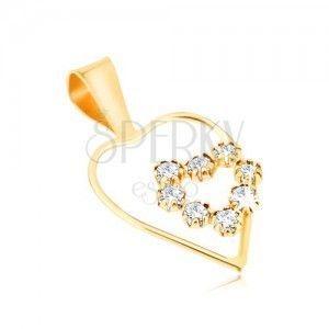 Złoty wisiorek 375 - cienki zarys symetrycznego serca, cyrkoniowe serce obraz