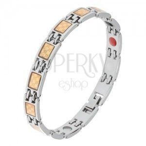 Stalowa bransoletka srebrnego i złotego koloru, wzór szachownicy, magnesy obraz