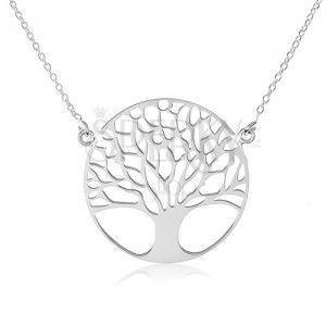 Srebrny naszyjnik 925, drobny łańcuszek, drzewo życia obraz
