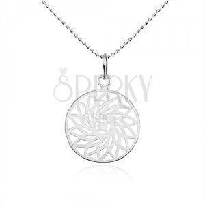Srebrny naszyjnik 925, kuleczkowy łańcuszek, wycinany kwiat w kole obraz