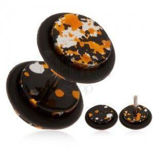 Akrylowy oszukany plug do ucha - plamy w czarnym, pomarańczowym i srebrnym kolorze obraz