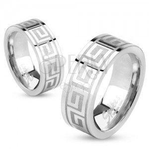 Obrączka ze stali srebrnego koloru, lśniąca powierzchnia, klucz grecki, 6 mm obraz