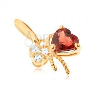 Złoty wisiorek 375 - kokardka ozdobiona czerwonym granatem i przezroczystymi cyrkoniami obraz