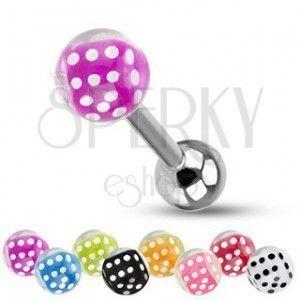 Barbell do języka ze stali, srebrny kolor, kuleczki, kolorowe kostki do gry obraz