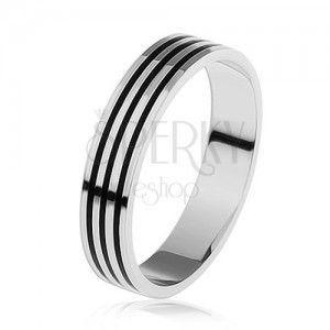 Srebrny pierścionek 925, trzy cienkie czarne paseczki wokół obwodu obraz