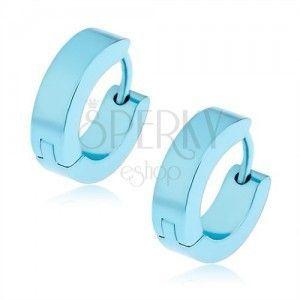 Okrągłe kolczyki ze stali w jasnoniebieskim kolorze, bigiel angielski obraz