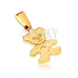 Złoty wisiorek 375 - lśniący płaski niedźwiadek z serduszkiem na brzuchu obraz