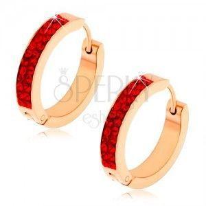 Kolczyki ze stali, miedziany kolor, rubinowo czerwone cyrkonie obraz