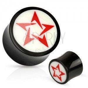 Okrągły czarno-biały plug do ucha z naturalnego materiału, czerwona gwiazda obraz