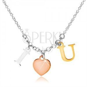 """Srebrny naszyjnik 925, napis """"I LOVE U"""" w trzech odcieniach kolorystycznych obraz"""