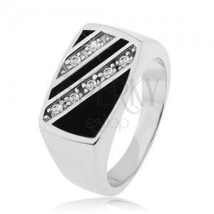 Srebrny pierścionek 925, prostokąt - ukośne pasy z przezroczystych cyrkonii, czarna emalia obraz