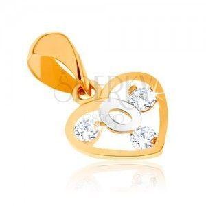 Dwukolorowy wisiorek ze złota 9K - zarys serca, pętelka z białego złota, cyrkonie obraz