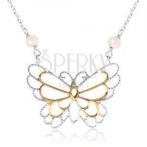 Srebrny naszyjnik 925, zarys motylka, osadzone perłowe kuleczki obraz