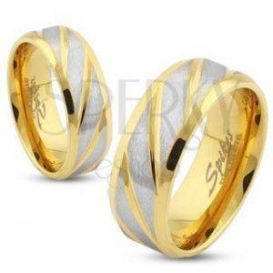 Stalowa obrączka złotego koloru, ukośne pasy w srebrnym odcieniu, 6 mm obraz