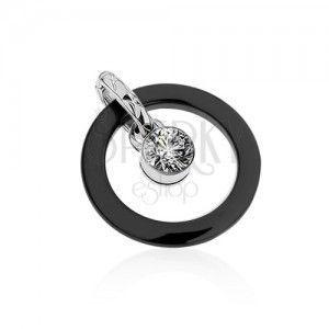 Czarny ceramiczny podwójny wisiorek, zarys koła, okrągła przezroczysta cyrkonia obraz