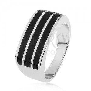 Lśniący srebrny pierścionek 925, trzy poziome pasy z czarną emalią obraz