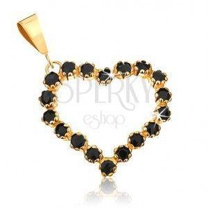 Złoty wisiorek 375 - zarys symetrycznego serca wyłożony czarnymi szafirami obraz