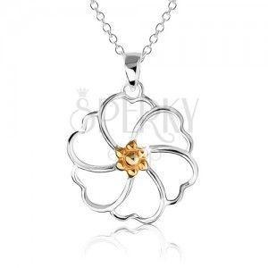 Naszyjnik ze srebra 925 - kontury kwiatu ze środkiem złotego koloru obraz