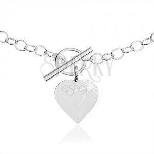 Naszyjnik ze srebra 925, owalne ogniwa łańcuszka, płaski wisiorek serce obraz
