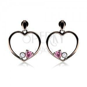 Kolczyki ze srebra 925, stalowo szary zarys serca, różowe serce, przezroczysta cyrkonia obraz
