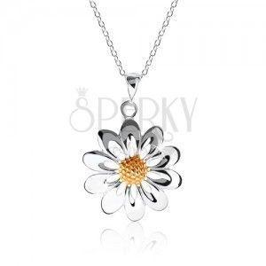 Naszyjnik ze srebra 925, kwiatek - płatki z wycięciami, środek w złotym kolorze obraz