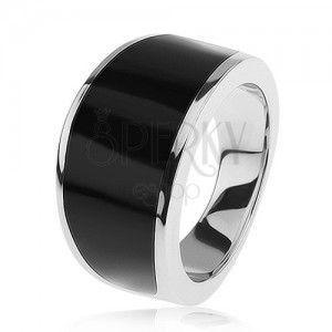 Srebrny pierścionek 925 - czarny emaliowany pas, lśniąca i gładka powierzchnia obraz