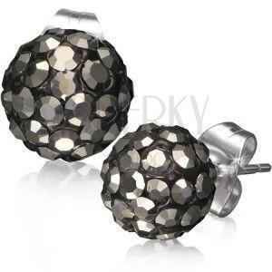 Stalowe kolczyki Shamballa - czarne kuleczki, szare szlifowane kamyczki, 8 mm obraz