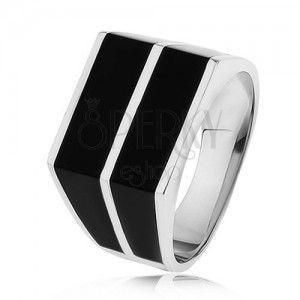 Srebrny pierścionek 925 - dwa poziome pasy czarnego koloru, gładka powierzchnia obraz