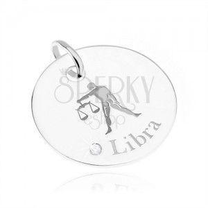 Okrągły i lśniący srebrny wisiorek 925, znak Zodiaku WAGA, przezroczysta cyrkonia obraz