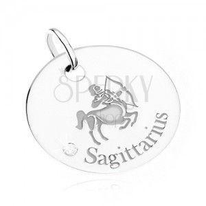 Wisiorek - okrągła płytka, znak Zodiaku STRZELEC, przezroczysty kamyczek, srebro 925 obraz