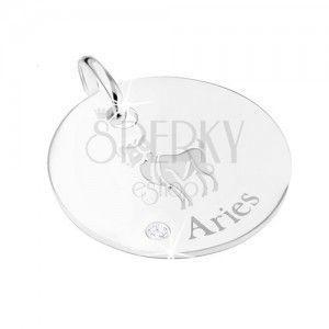 Okrągły wisiorek ze srebra 925 - płytka ze znakiem Zodiaku BARAN, przezroczysta cyrkonia obraz