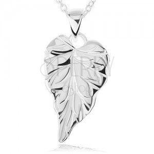 Srebrny naszyjnik 925 - lśniący grawerowany liść, łańcuszek obraz