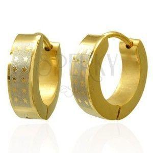 Lśniące okrągłe stalowe kolczyki - złoty odcień, pas srebrnego koloru z gwiazdami obraz