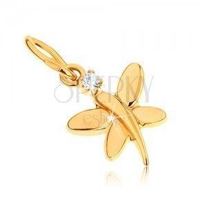 Złoty wisiorek 375 - lśniący motylek ozdobiony okrągłą przezroczystą cyrkonią obraz