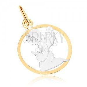 Dwukolorowy złoty wisiorek 375 - grawerowany aniołek, zarys koła, rodowany obraz