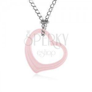Stalowy naszyjnik, różowy ceramiczny zarys serca, łańcuszek srebrnego koloru obraz