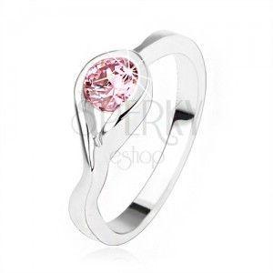 Srebrny pierścionek 925, okrągła różowa cyrkonia, skręcone ramiona obraz