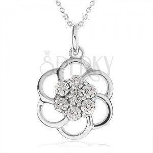 Naszyjnik ze srebra 925 - zarys kwiatu ozdobiony przezroczystymi kamyczkami, łańcuszek obraz