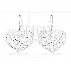 Srebrne kolczyki 925, serce ozdobione ażurowym wzorem, zarys motyla, spirale obraz