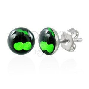 Stalowe kolczyki - zielone wisienki na czarnym tle obraz