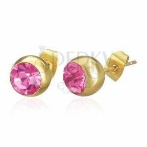 Stalowe kolczyki złotego koloru, kuleczka z różową cyrkonią, wkręty obraz