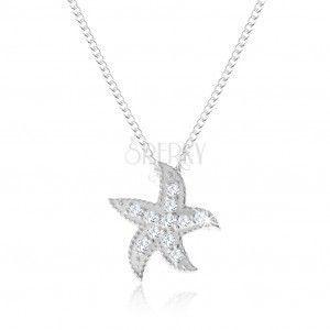 Srebrny naszyjnik 925, rozgwiazda ozdobiona małymi okrągłymi cyrkoniami obraz