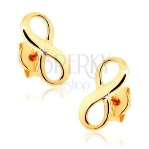 Złote kolczyki 375 - lśniący symbol nieskończoności obraz