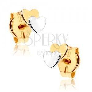 Kolczyki wkręty ze złota 9K - dwa małe serduszka, dwukolorowe obraz