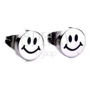 Lśniące kolczyki wkręty ze stali, srebrny kolor, uśmiechnięta buźka obraz