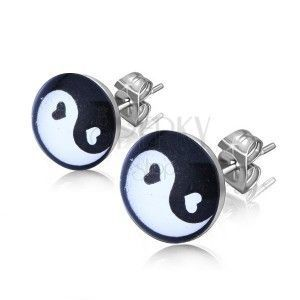 Kolczyki wkręty ze stali, czarno-biały symbol Jing i Jang w kółku obraz
